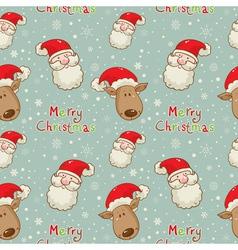 santa deer seamless big vector image