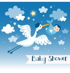 Baby boy shower invitation card with stork vector image