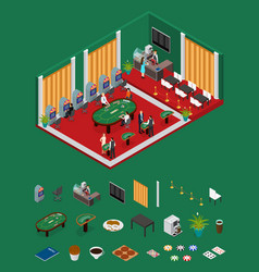 interior casino and parts isometric view vector image vector image