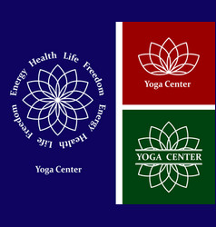 set logos lotus yoga center vector image vector image