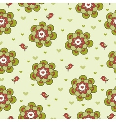 Vintage floral seamless pattern with birds vector image