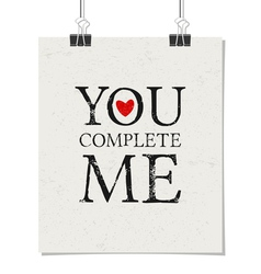Vintage typographic Valentines Day design poster vector image vector image