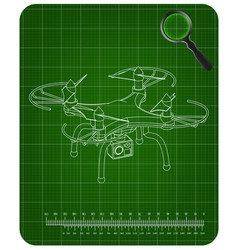 3d quadcopter model on a green vector image