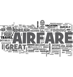 airfare doesn t have to hinder your dream trip vector image