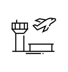 airport line icon concept sign outline vector image
