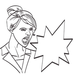 art of screaming woman lineart isolated vector image