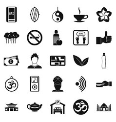 Asian culture icons set simple style vector
