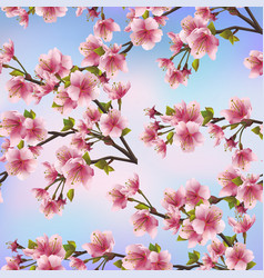 Background seamless pattern with sakura tree vector