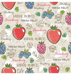 Background with strawberry blackberry vector