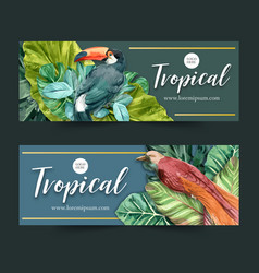 Banner design with classic wild tropical theme vector