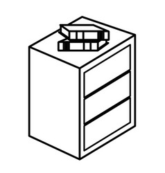Bedside table with drawers and books vector