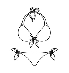 Bikini icon in outline style isolated on white vector