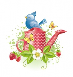 blue bird on watering can vector image