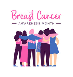 Breast cancer awareness card of women friend hug vector