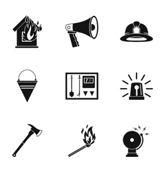Burning icons set simple style vector