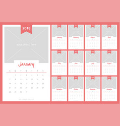 Calendar 2018 with image space design vector