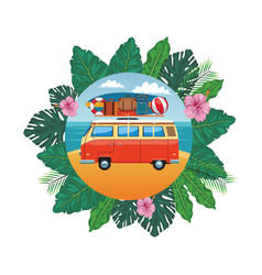 Camper van icon vector
