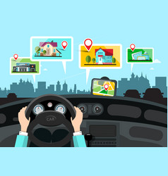Car navigation with city public buildings map vector