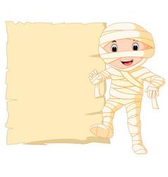 Cartoon egyptian mummy with blank sign vector