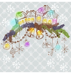 Christmas decoration with homes2 vector image