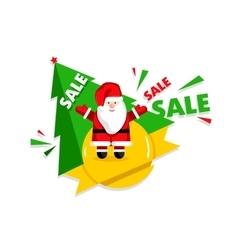 Christmas sale design template with Santa vector image