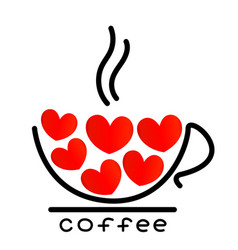 Coffee cup with red hearts icon vector