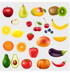 Collection fresh fruit transparent background vector