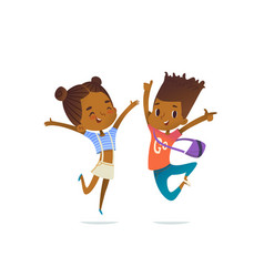 Couple of african american children boy and girl vector