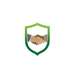 creative abstract handshake shield logo design vector image
