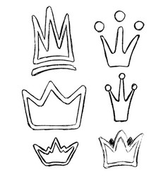 crown icon doodle set hand drawn picture vector image