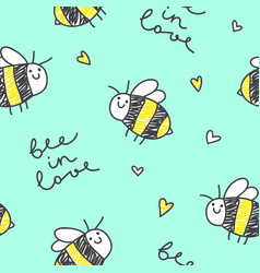 cute bees pattern vector image