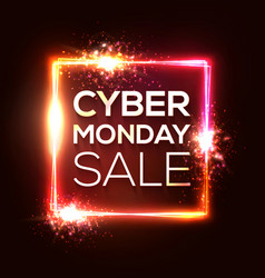 cyber monday shopping square banner in neon style vector image