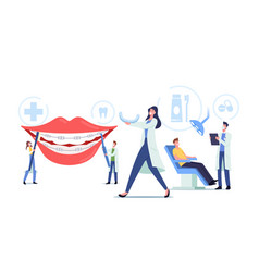 Dentist install dental braces to patient vector