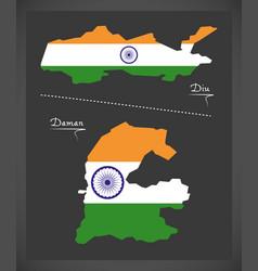 diu and daman map with indian national flag vector image