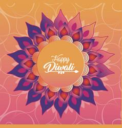 diwali festival with flower mandala petals vector image