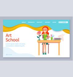 Education online art school landing page vector