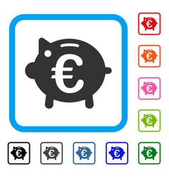 euro piggy bank framed icon vector image