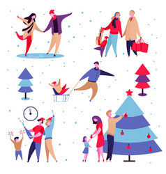 family holidays set vector image