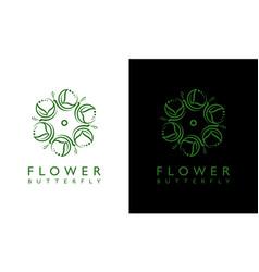Feminine floral butterfly concept logo design vector