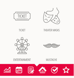 Ferris wheel ticket and theater masks icons vector