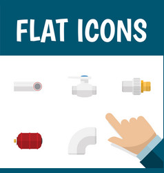 flat icon plumbing set of industry drain plastic vector image
