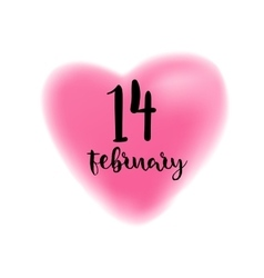 Fourteenth February lettering on heart vector