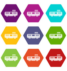freight train icon set color hexahedron vector image