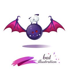funny cute crazy cartoon bat fear and horror vector image