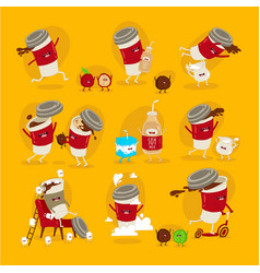funny set coffee stickers cup coffee vector image