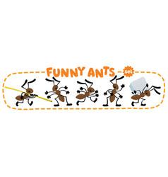 Funny small ants set children vector