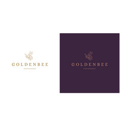 golden wasp with wings logo template linear vector image