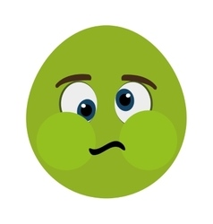 green cartoon face with sick expression vector image
