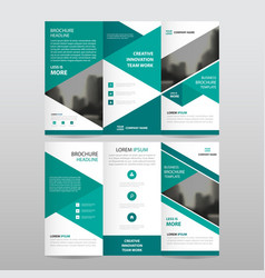 Green triangle business trifold leaflet brochure vector