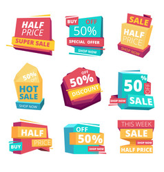 half price badges advertizing sale banners tags vector image